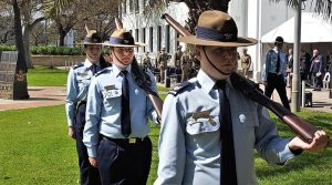 CFSGT Eric Symons on duty last year (centre, as a Cadet Sergeant) at the Air Force Memorials and Bomber Command Commemorative Service in Adelaide. Image by CPL (AAFC) Kim Edgar