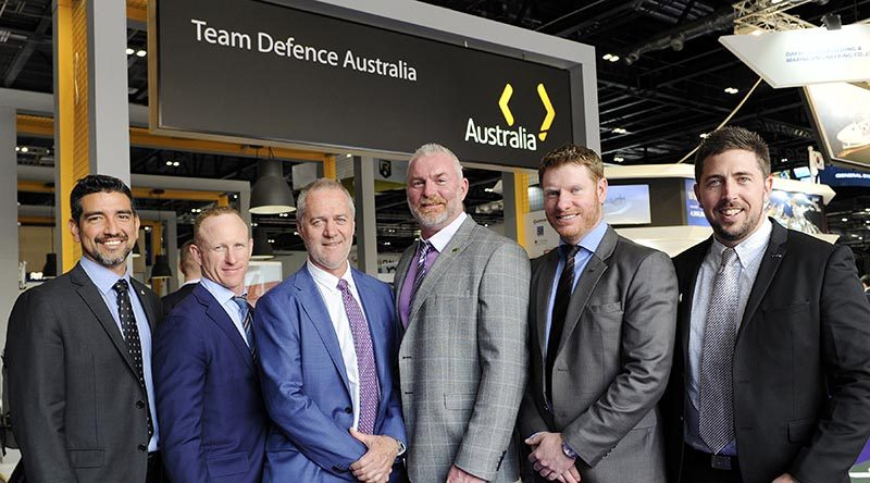 ADA rep Alvaro Carvajal, Mark Donaldson VC, ADA CEO Matt Graham, CONTACT sniper contributor Jason Semple, Daniel Keighran VC and Managing Director LE Gear Mark Foote.