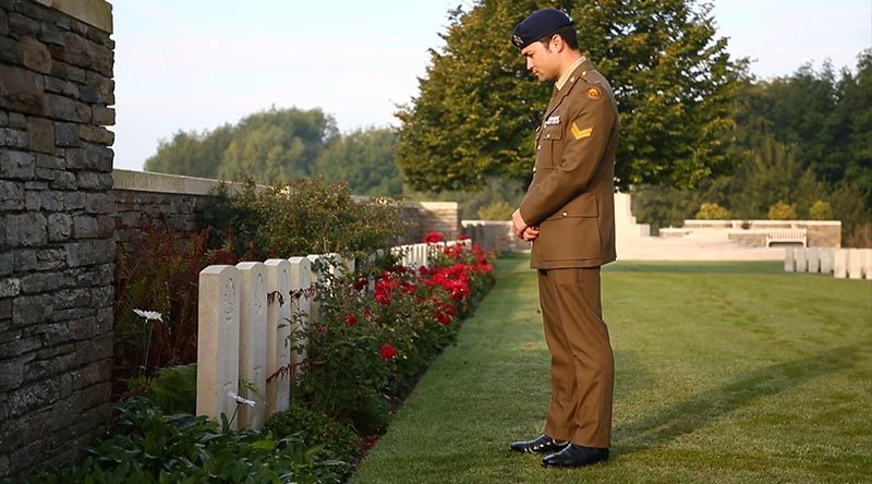 Corporal Kyle Genner visits his great-great-great-uncle Arthur Genner's grave at Buttes New British Cemetery, Zonnebeke, Belgium.