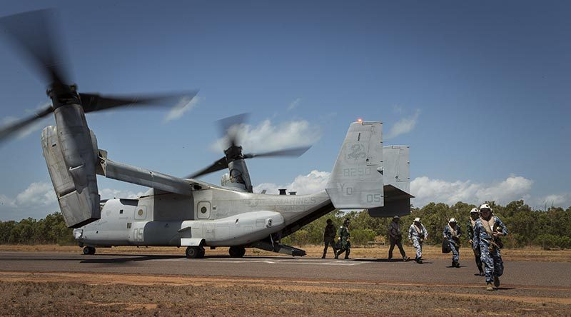 International observers disembark the MV-22 Osprey at South Goulburn Island to observe Exercise Crocodile Strike. Photo by Sergeant Janine Fabre.