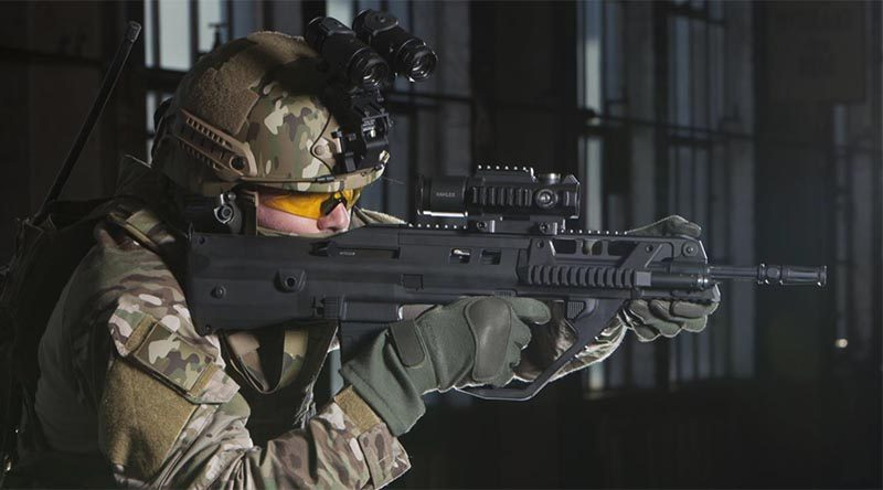 F90MBR (modular bullpup rifle) by Thales Australia. Thales image.