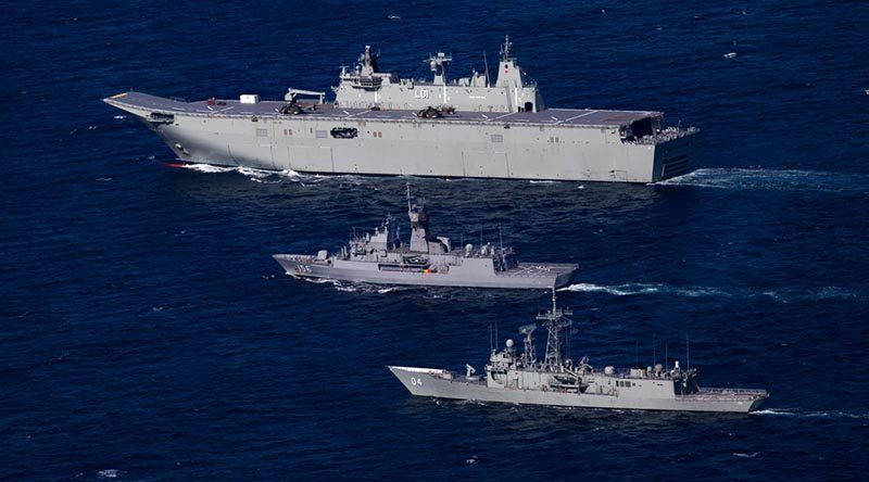 HMA Ships Adelaide, Toowoomba and Darwin in formation off the coast of Sydney, heading north on Indo-Pacific Endeavour 2017. Photo by Able Seaman Steven Thomson.