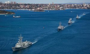 HMA Ships Darwin, Melbourne, Parramatta and Toowoomba depart Sydney for Indo-Pacific Endeavour 2017. Photo by Able Seaman Steven Thomson.