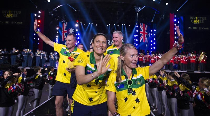Australian athletes Chris Clark, Leading Aircraftwoman Melissa Roberts, Jason McNulty and Sarah Watson enter the 2017 Invictus Games opening ceremony in Toronto. Photo by Corporal Mark Doran.
