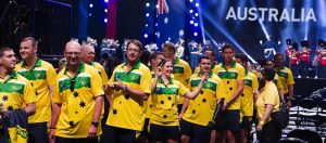Members of the Australian team enter the Invictus Games opening ceremony. Photo by Corporal Mark Doran.