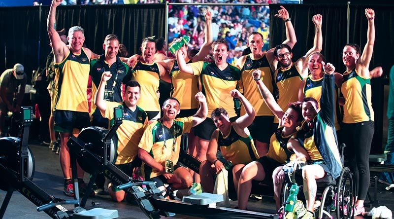 Australian Invictus Games indoor rowing team members are happy with their performance. Photo by Leading Seaman Jayson Tufrey.