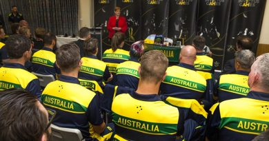 Minister for Defence Marise Payne congratulates the 2017 Invictus Games Australian Team at the Sydney Academy of Sport and Recreation. Photo by Corporal Mark Doran.