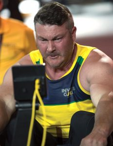 Tony Sten competes – indoor rowing. Photo by Jayson Tufrey.