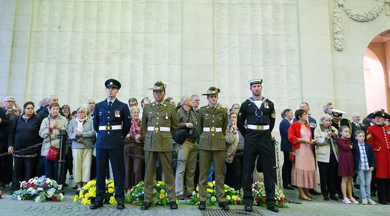 Members of Australia's Federation Guard stand at ease during the Last Post Ceremony at Menin Gate, Belgium, as part of 100th Anniversary commemorations of the Battle of Polygon Wood. Photo by Corporal kyle Genner.