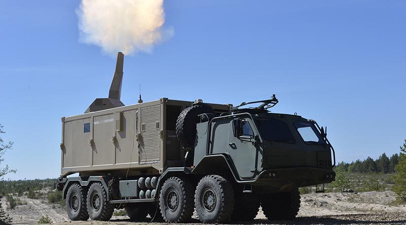 Patria Nemo Container – containerised 84mm mortar system. Patria photo.