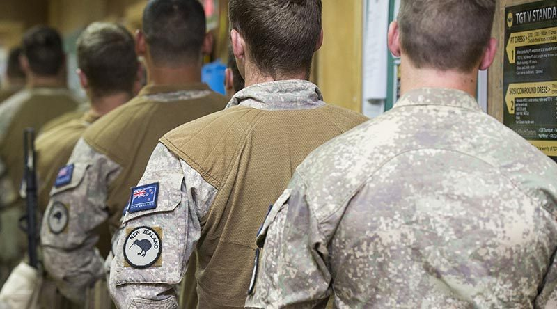 New Zealand Army soldiers line up to vote in the 2017 New Zealand general election at the Taji Military Complex, Iraq. Photo by Able Seaman Chris Beerens, ADF.