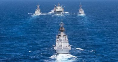 HMAS Toowoomba trails as HMAS Sirius conducts a dual replenishment at sea, refuelling HMAS Darwin (left) and HMAS Melbourne (right) simultaneously during Indo-Pacific Endeavour 2017. Photo by Leading Seaman Peter Thompson.