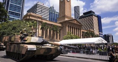 An M1A1 Abrams tank from the 2nd/14th Light Horse Regiment (Queensland Mounted Infantry) moves past the reviewing dais during their Freedom of Entry March into Brisbane City. Photo by Corporal Oliver Carter.