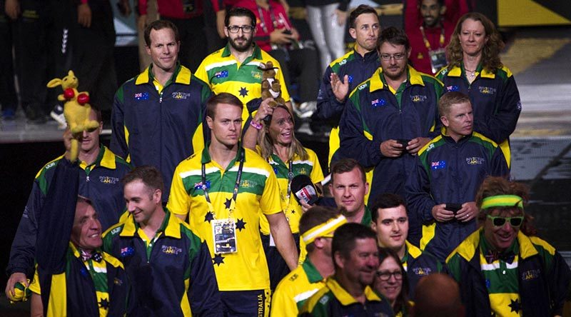 Australian athletes enter the 2017 Invictus Games closing ceremony in Toronto, Canada. Photo by Corporal Mark Doran.
