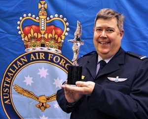 Pilot Officer (AAFC) Dennis Medlow, Chief Flying Instructor-Gliding for 6 Wing, whose collaborative efforts made him a joint winner of the Hoinville Award trophy. Image by Flying Officer (AAFC) Paul Rosenzweig