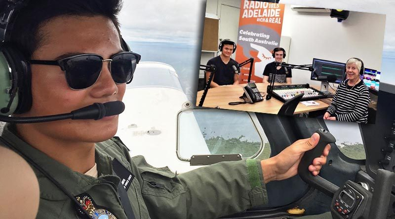 Kyle Roberts as a 16-year-old Cadet Sergeant (2016) undergoing pilot training in a powered aircraft and, inset with Cadet Flight Sergeant Alex Burrow (centre) in the Radio Adelaide studio, with Service Voices interviewer Fiona White.