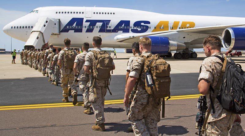 Members of the United States Marine Corps from Marine Rotational Force - Darwin 2017, begin their journey home from RAAF Base Darwin. Photo by Leading Seaman James Whittle.
