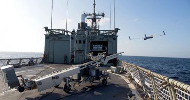 ScanEagle is launched from the flight deck of HMAS Newcastle, on patrol in the Middle East. Photo by Able Seaman Nicolas Gonzalez.