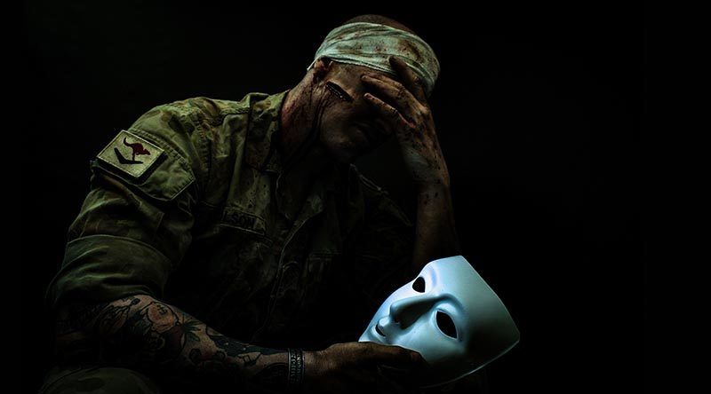 PTSD unmasked – subject Trooper David Nicholson – makeup by Ambah de Smet – photography by Justin Marshall, JM Photography.