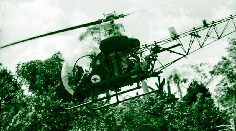 An RAAF Sioux helicopter in Vietnam, 1968, from Australian War Memorial collection. From black and white, colourised by CONTACT.