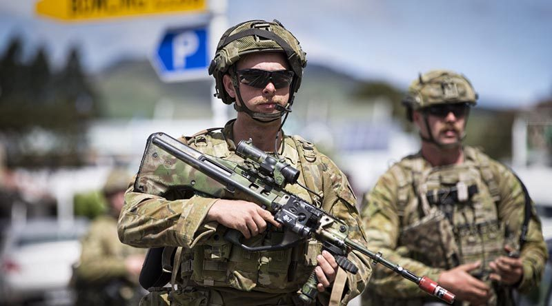 Australian Army Private Tobey McKean patrols through the town of Havelock, New Zealand, during Exercise Southern Katipo 2017. Photo by Sergeant Ricky Fuller.