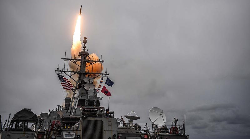 Arleigh Burke-class guided-missile destroyer USS Donald Cook fires a Standard Missile 3 during exercise Formidable Shield 2017. US Navy photo by Mass Communication Specialist 1st Class Theron J. Godbold.