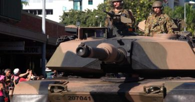 M1A1 Abrams tank on a city parade.