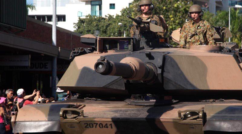 M1A1 Abrams tank on a city parade.
