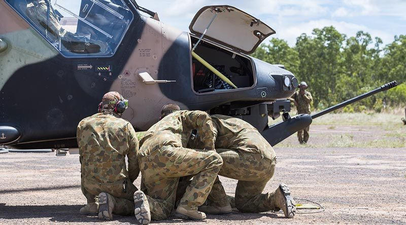 FILE PHOTO: An Australian Army Tiger helicopter at aforward arming and refuelling point (FARP) during Exercise Predators Talon & Griffin Guns, Mount Bundy Training Area (April 2017).