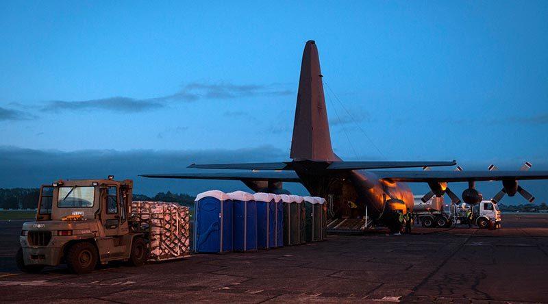 Preparations of the C-130 Hercules heading to Vanuatu to deliever aid supplies. NZDF photo.