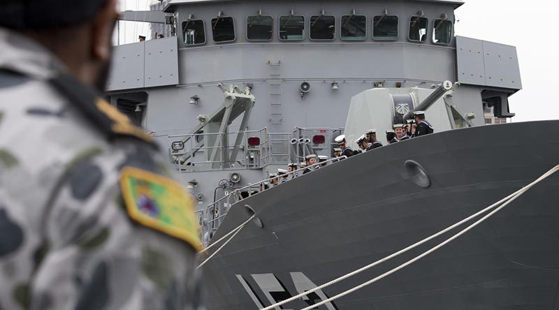 HMAS Warramunga is farewelled from Fleet Base East, Sydney, for maritime security activities in the Middle East region as part of Operation Manitou. Photo by Able Seaman Christopher Szumlanski.