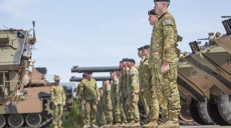 Major General Fergus McLachlan reviews the 1st Armoured Regiment first parade in Adelaide after the unit relocated from Darwin. Photo by Corporal Craig Barrett.