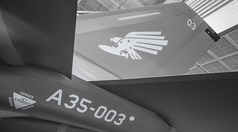 Squadron markings applied to Australia's third F-35A – AU-03 – at Lockheed Martin facilities in Fort Worth, Texas. Photo by Angel DelCueto.