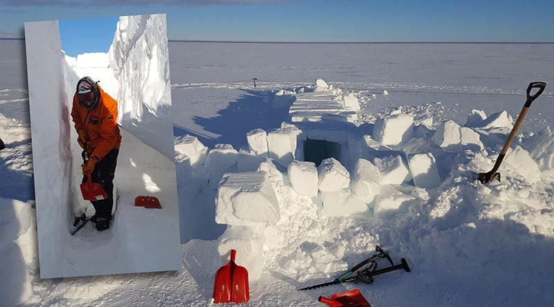 Seven aircrew and two survival training instructors from the Royal New Zealand Air Force dig trenches on the Ross Ice Shelf as part of a survival training course in Antarctica. NZDF photo.