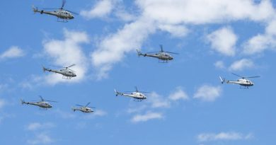 Royal Australian Navy AS 350BA Squirrel Helicopters from 723 Squadron conduct a six-ship (sic) formation fly past over HMAS Albatross.