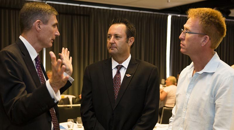 Chief of Army Lieutenant General Angus Campbell speaks with Warrant Office Class 2 Simon Marshall, Adelaide University Regiment, and Sergeant Andrew Wright, 6th Aviation Regiment, at the Chief of Army Wounded, Injured and Ill Digger Forum in Canberra. Photo by Corporal Mark Doran.