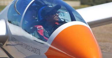 Leading Cadet Tharane Thamodarar during a weekend training activity at Gawler Airfield. Photo by Flying Officer (AAFC) Paul Rosenzweig