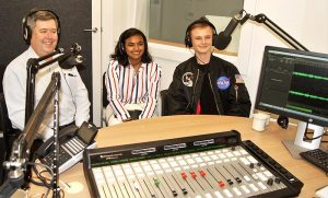 Pilot Officer (AAFC) Dennis Medlow, LCDT Tharane Thamodarar and CCPL Tomasz Kocimski at Radio Adelaide. Photo by Flying Officer (AAFC) Paul Rosenzweig