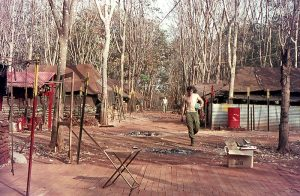 During the dry season when the rubber trees lost their leaves the place looked like this.