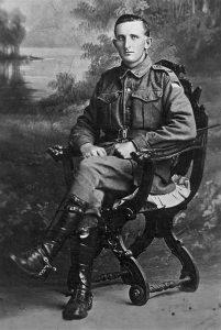 A studio portrait of Trooper Alfred Joseph Smith, 3rd Australian Light Horse Regiment, AIF.