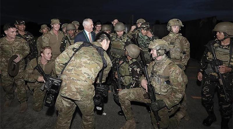 Prime Minister Malcolm Turnbull with Aussie troops in the Philippines. Photo from PM's web site.