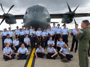 Wing Commander Jarrod Pendlebury, CO 35 Squadron, briefs cadets from 36 Squadron before showing through a C-27J Spartan.
