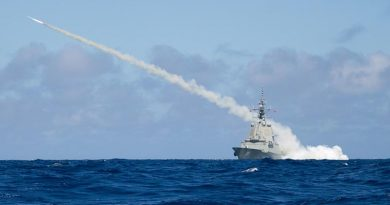 Air Warfare Destroyer HMAS Hobart successfully fires a Harpoon Blast Test Vehicle in the East Australian Exercise Area, proving the capability of the ship to launch Harpoon missiles. Photo by Leading Seaman Peter Thompson.