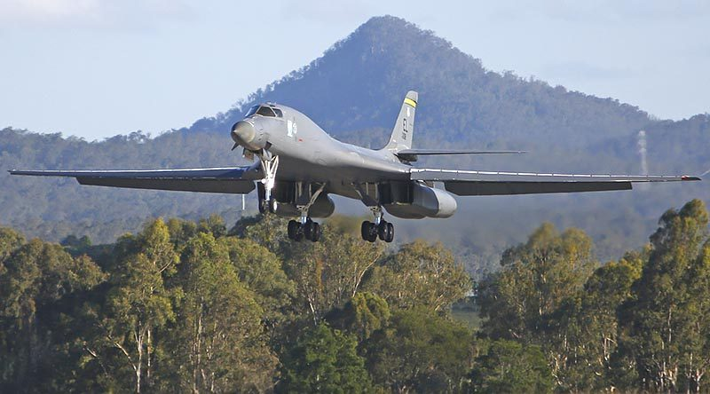 A United States Air Force B-1B Lancer lands at RAAF Base Amberley during Exercise Lightning Focus. Photo by Leading Aircraftman Jesse Kane.