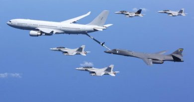 A RAAF KC-30A Multi-role Tanker Transport from RAAF Base Amberley provided refuelling operations for a USAF B-1B Lancer while RAAF F/A-18F Super Hornets and E/A-18G Growlers await their turn during Exercise Lightning Focus.