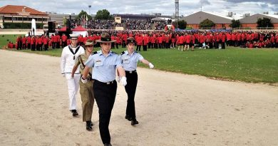 The tri-Service ADFC party departs the stadium after raising the flags to mark the commencement of the 10th Pacific School Games (front to rear): Leading Cadet Lachlan Jenkins (No 604 Squadron, AAFC), Cadet Under Officer Aaron Louch (43 Army Cadet Unit, Warradale Barracks) and Petty Officer Alex White (TS Noarlunga, ANC). The Flag Party Commander was Cadet Corporal Benjamin Grillett (No 617 Squadron, AAFC). Photo by FLGOFF (AAFC) Paul Rosenzweig, HQ 6WG