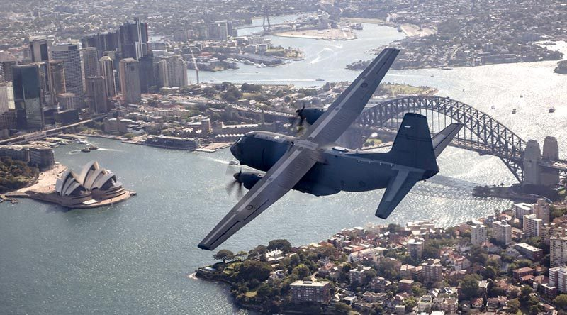 A RAAF C-27J Spartan flies over Sydney to celebrate 75 years of No 35 Squadron. Photo by Corporal Craig Barrett.