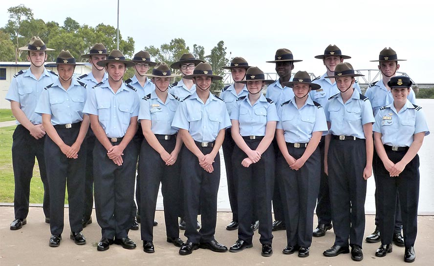 Cadet Under Officer Ellen Chinner (far right), Cadet Executive Officer, with her team of 622 Squadron cadets in Murray Bridge