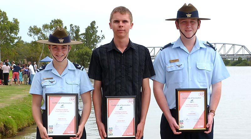 2018 Young Citizen of the Year nominees for the Rural City of Murray Bridge, Cadet Corporal Tegan Thomas, former Cadet Under Officer Samuel Mach and Leading Cadet Jacob Lavery. Not present: Cadet Warrant Officer Walter Harris.