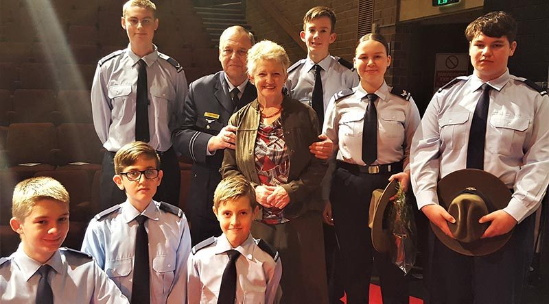 Cadets of No 605 Squadron AAFC with the Mayor of Onkaparinga Lorraine Rosenburg at a citizenship ceremony last year (left to right): CDT Dylan Appleton, CDT Jaime Kermeen, CDT Tristan Hahn, LCDT Zachary Rogers (standing), FLTLT(AAFC) James Roncoli, Mayor Rosenburg, CDT Ethan O'Connor, CCPL Tanielle Edwards and CDT Ethan Bray.